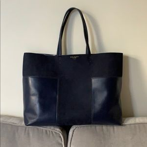 Tory Burch Leather & Suede Block-T Tote